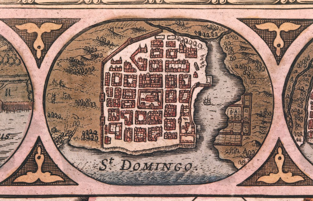 Cartography, Dominican Republic, 17th century. Santo Domingo. Engraving from an atlas from the 17th century. : Stock Photo