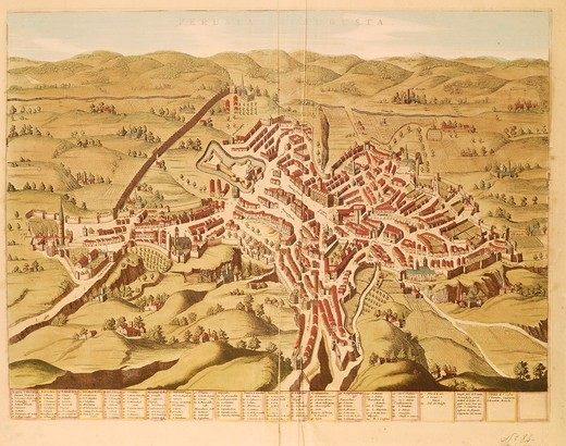 Cartography, Italy, 17th century. Map of Perugia. Colored engraving from the second half of the 16th century. : Stock Photo
