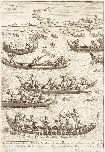 Nobility hunting fowl in the Venetian lagoon in winter, 1610, by Giacomo Franco (1556-1620), engraving from Costumes of Venetian Men and Women. Italy 17th Century. : Stock Photo