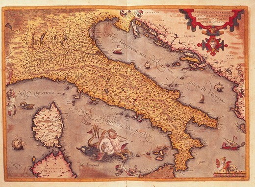 Cartography, Italy, 16th century. Map of Italy, by Abraham Ortelius (1528-1598), from Theatrum Orbis Terrarum, 1570. : Stock Photo