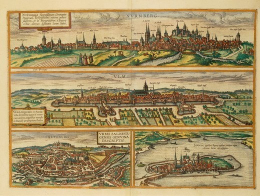 Cartography, Germany and Austria, 16th century. Map of Nuremberg, Ulm, Salzburg and Lindau. From Civitates Orbis Terrarum by Georg Braun (1541-1622) and Franz Hogenberg (1540-1590), Cologne. Engraving. : Stock Photo