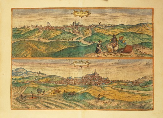 Stock Photo: 1788-36392 Cartography, Spain, 16th century. Map of Marchena and Osuna. From Civitates Orbis Terrarum by Georg Braun (1541-1622) and Franz Hogenberg (1540-1590), Cologne. Engraving