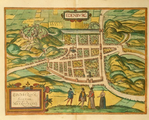 Stock Photo: 1788-36403 Cartography, Great Britain, 16th century. Map of Edinburgh. From Civitates Orbis Terrarum by Georg Braun (1541-1622) and Franz Hogenberg (1540-1590), Cologne. Engraving