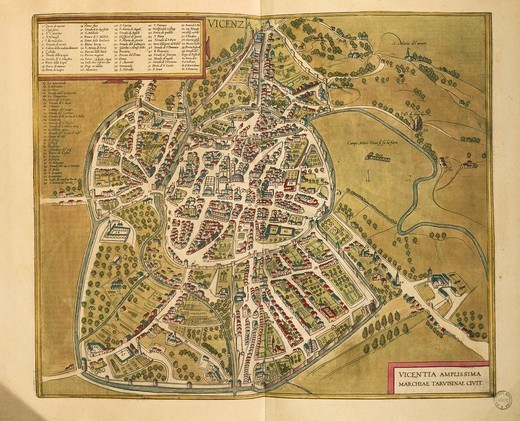 Stock Photo: 1788-36482 Cartography, Italy, 16th century. Vicenza. From Civitates Orbis Terrarum by Georg Braun (1541-1622) and Franz Hogenberg (1540-1590), Cologne. Engraving