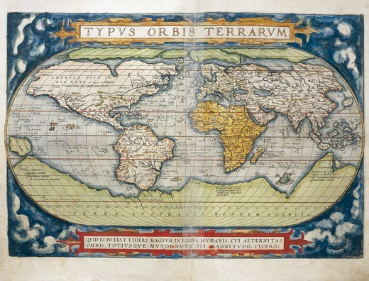 Stock Photo: 1788-36509 Cartography, 16th century. World map from Theatrum Orbis Terrarum by Abraham Ortelius (1528-1598), Antwerp, 1570.