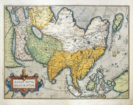Stock Photo: 1788-36511 Cartography, 16th century. Map of Asia, from Theatrum Orbis Terrarum by Abraham Ortelius (1528-1598), Antwerp, 1570.