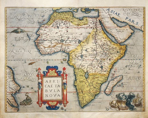 Cartography, 16th century. Map of Africa, from Theatrum Orbis Terrarum by Abraham Ortelius (1528-1598), Antwerp, 1570. : Stock Photo