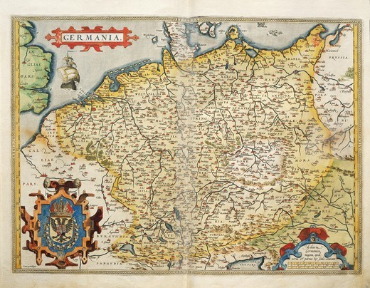 Cartography, 16th century. Map of Germany, from Theatrum Orbis Terrarum by Abraham Ortelius (1528-1598), Antwerp, 1570. : Stock Photo