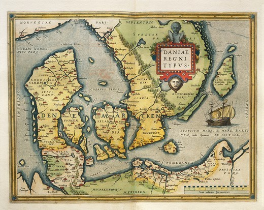 Stock Photo: 1788-36518 Cartography, 16th century. Map of Denmark, from Theatrum Orbis Terrarum by Abraham Ortelius (1528-1598), Antwerp, 1570.