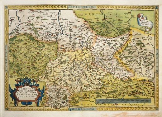 Stock Photo: 1788-36521 Cartography, 16th century. Map of Saxony, from Theatrum Orbis Terrarum by Abraham Ortelius (1528-1598), Antwerp, 1570.