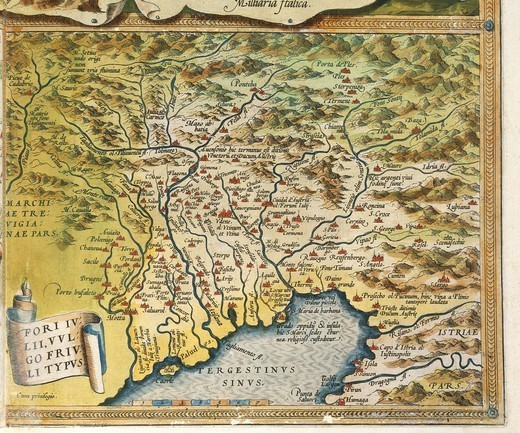 Cartography, Italy, 16th century. Map of Friuli Venezia Giulia region, from Theatrum Orbis Terrarum by Abraham Ortelius (1528-1598), Antwerp, 1570. : Stock Photo