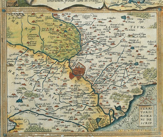 Stock Photo: 1788-36524 Cartography, Italy, 16th century. Map of Lazio region, from Theatrum Orbis Terrarum by Abraham Ortelius (1528-1598), Antwerp, 1570.
