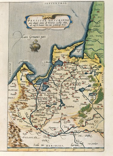 Stock Photo: 1788-36528 Cartography, 16th century. Map of Prussia, from Theatrum Orbis Terrarum by Abraham Ortelius (1528-1598), Antwerp, 1570.