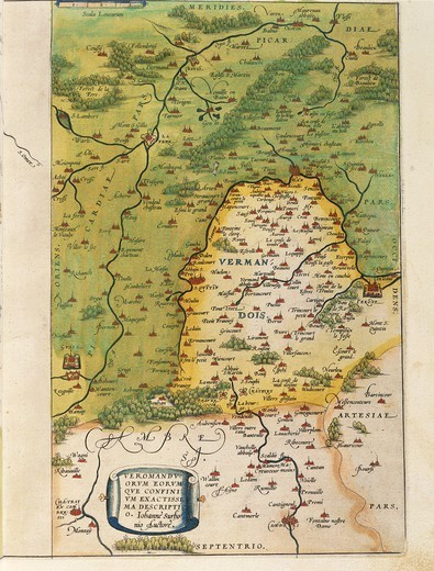 Cartography, France, 16th century. Map of Vermandois, from Theatrum Orbis Terrarum by Abraham Ortelius (1528-1598), Antwerp, 1570. : Stock Photo