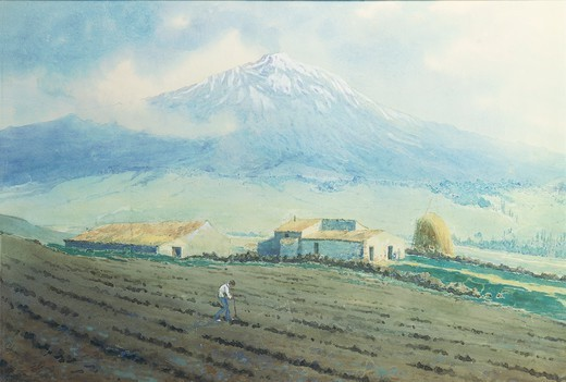Italy, 19th century. Horatio Nelson's estate in Bronte (Catania) at the foot of Mount Etna. Watercolour. : Stock Photo