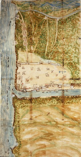 Stock Photo: 1788-36585 Cartography, Dominican Republic, 17th century. Map of Santo Domingo city showing the city's defensive wall, 1619. Watercolor.