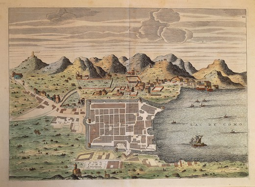 Stock Photo: 1788-36591 Cartography, Italy, 16th century. Map of the city of Como, 1570