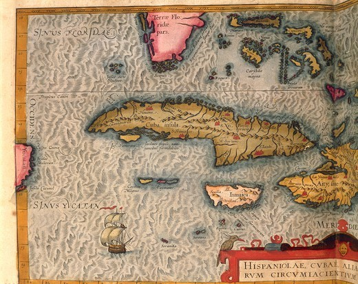 Cartography, 16th century. Map of Cuba and Jamaica, from Theatrum Orbis Terrarum by Abraham Ortelius (1528-1598), Antwerp, 1570. : Stock Photo