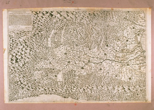 Stock Photo: 1788-36596 Cartography, Italy, 16th century. The Nova Descrittione (New Description) of Lombardy, created by Giacomo Gastaldi. Engraving by George Tilman, 1570.
