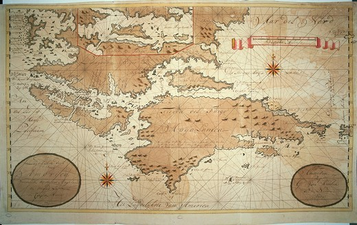 Stock Photo: 1788-36597 Cartography, 18th century. Strait of Magellan and Cape Horn with Catherine Island insert. From the Nautical Atlas hand-drawn by Gerard van Keulen, Amsterdam 1713. Drawing in ink and watercolor on paper. 58.5 x 98.5 cm.