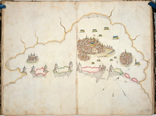 Stock Photo: 1788-36650 Cartography 16th-17th centuries. Turkish portolan chart by Seyued Nuh Efendi