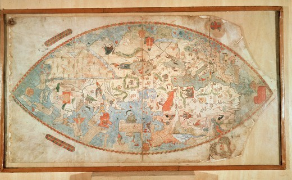 Cartography, 15th century. Genoese World Map, 1457. Manuscript. : Stock Photo