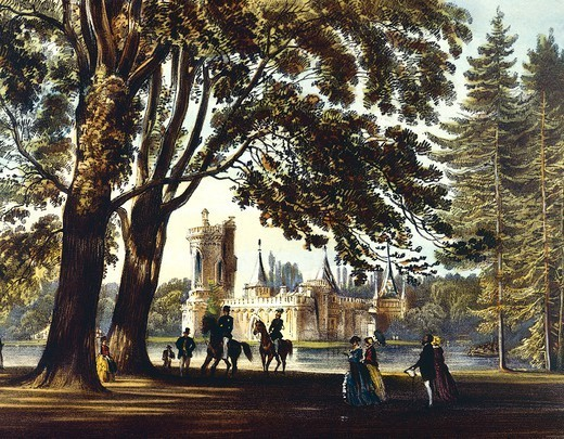 Laxemburg Park and Laxemburg Castle in Vienna, Austria 19th Century. : Stock Photo