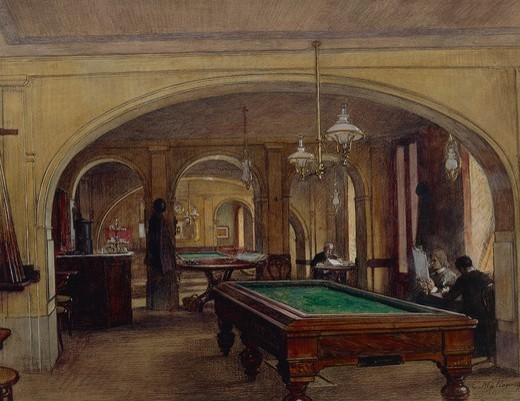 Austria, 20th century. Vienna. Caf interior with a billiards table. : Stock Photo