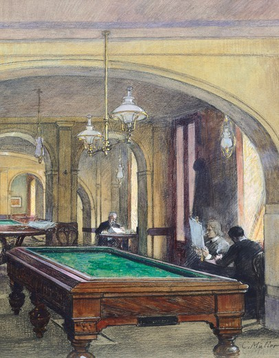 A billiard table in a cafe' in Vienna, Austria 20th Century. : Stock Photo