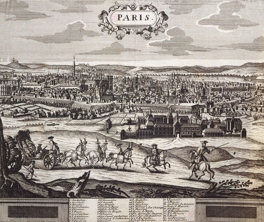 Stock Photo: 1788-36830 View of Paris, 1650, engraving, France 17th Century.