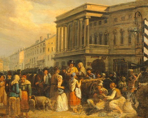 Market day, Warsaw, Poland 19th century. : Stock Photo