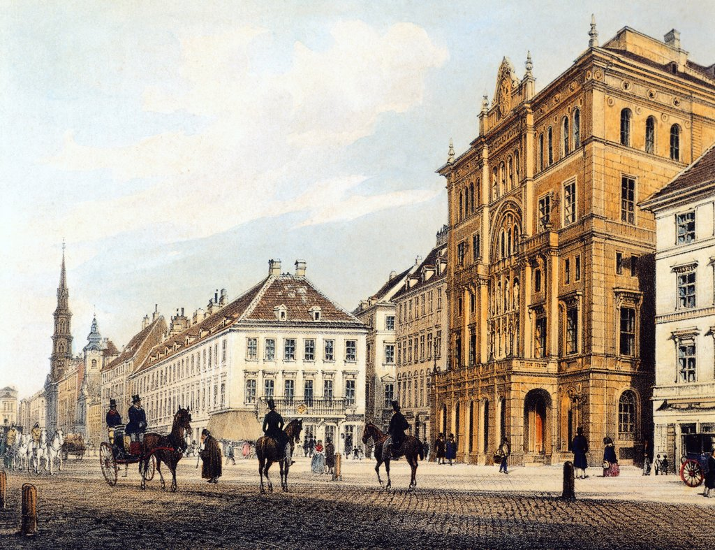 Stock Photo: 1788-36911 The Karl theatre in Vienna, Austria 19th Century. Watercolour.