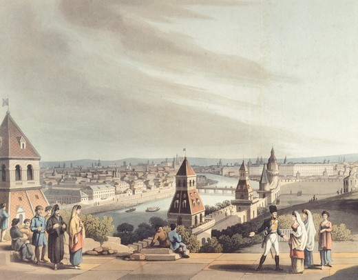 Stock Photo: 1788-36940 Panoramic view of Moscow, Russia 19th century. Coloured print.