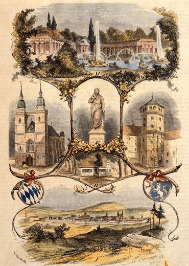 Stock Photo: 1788-36948 View of Bayreuth, 1860, Germany 19th Century.