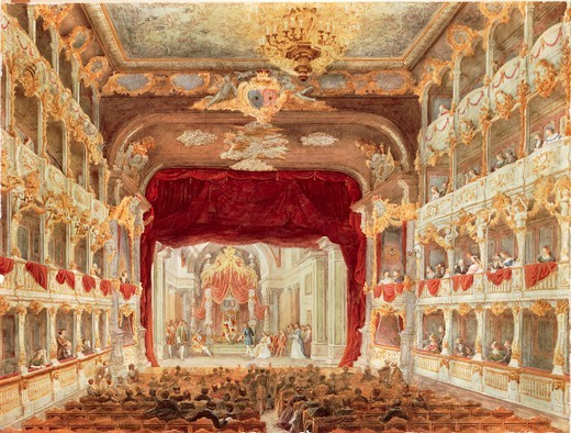 Stock Photo: 1788-36954 Germany, 19th century. Munich, Bavaria. Interior of the Cuvillies Theatre or Old Residence Theatre (Altes Residenztheater) during a performance. Watercolor.