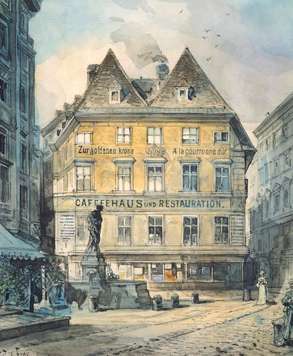 Stock Photo: 1788-36985 A cafe' on Graben Street (Ditch Street) in Vienna, Austria 19th Century. Watercolour.