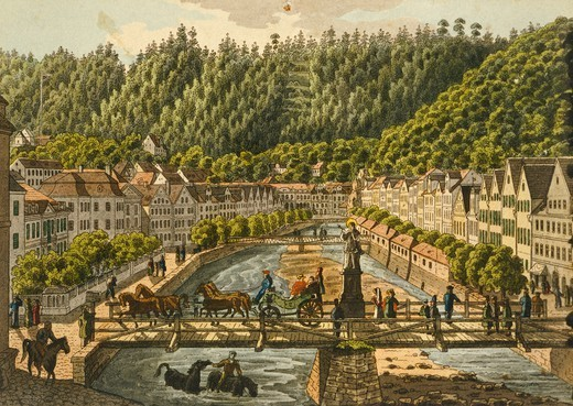 Promenade on the  Wiere in Carsbad (modern day Karlovy Vary), 1700, Czech Republic 18th Century. Print. : Stock Photo
