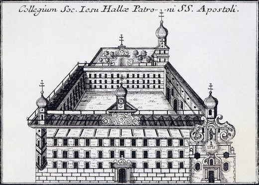 Stock Photo: 1788-37020 The Holy Apostles Boarding School in Halle, ca. 1725, Germany 18th Century.