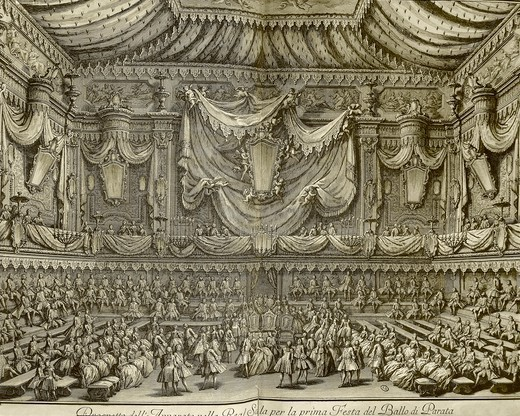 Stock Photo: 1788-37062 Italy, 18th century. Naples, ball on the occasion of the birth of the Hereditary Prince. Hall of the Royal Palace organized for the evening gala. Engraving by Re' and Vasi, 1747.