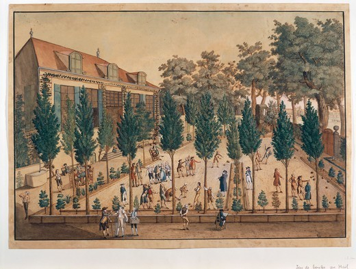 Stock Photo: 1788-37071 Switzerland, 18th century, Geneva. Playing bocce in Plainpalais Gardens. Watercolour by C.G. Geissler, 1796.