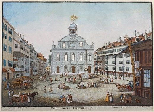Stock Photo: 1788-37072 Switzerland, 18th century, Geneva. Place de la Fusterie (Fusterie Square) with the Fusterie Temple. Watercolour by C.G. Geissler.