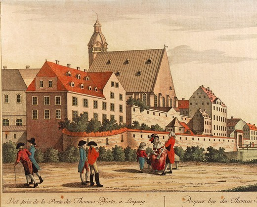 Stock Photo: 1788-37100 Germany, 18th century. Leipzig,  view of Thomasschule (Saint Thomas's School) and Thomaspforte in 1784.