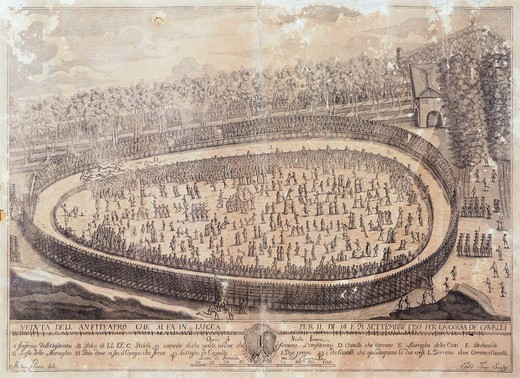 Stock Photo: 1788-37110 Amphitheatre in wood for the horse races in Lucca, Italy 18th Century.
