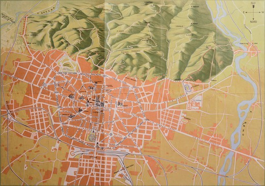 Stock Photo: 1788-37371 Topographic map of Bologna, 1937, Italy 20th century.