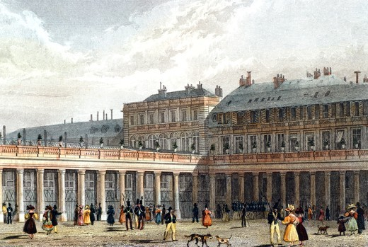 The Royal Palace, Paris, France 19th century. Engraving. : Stock Photo