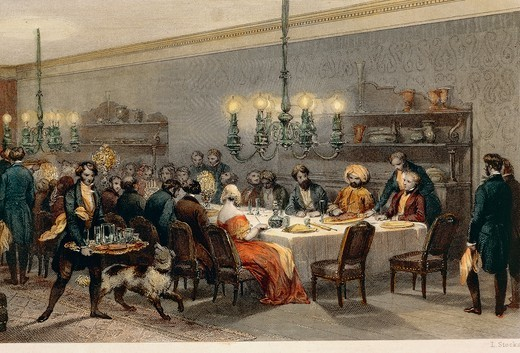 Communal table at Hotel des Princes (The Princes Hotel), Paris, France 19th century. Engraving : Stock Photo