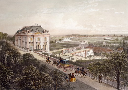 Stock Photo: 1788-37438 View from the upper terrace at Meudon, France 19th Century.  Engraving.