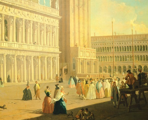 Stock Photo: 1788-37485 The Piazzetta, Venice, by Luca Carlevarijs (1663-1730), oil on canvas, Italy 18th century, 104 x 150 cm, detail.