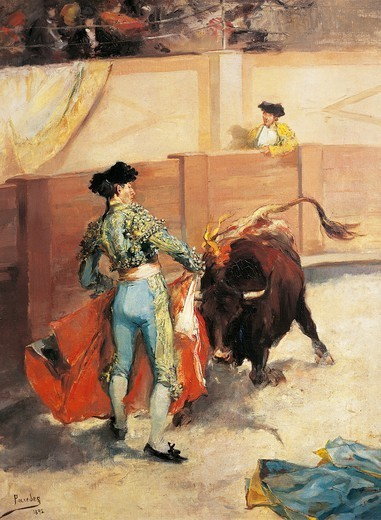 Bullfight, 1892, by Vicente Garcia de Paredes, Spain 19th Century. : Stock Photo