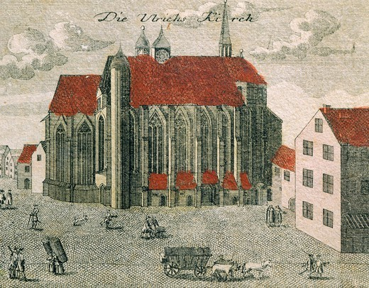 The Ulrichskirche in Halle, Germany 18th Century. : Stock Photo